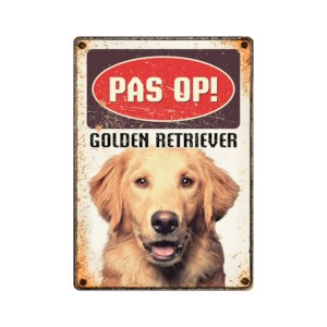 Waakbord Pas op! Golden Retriever